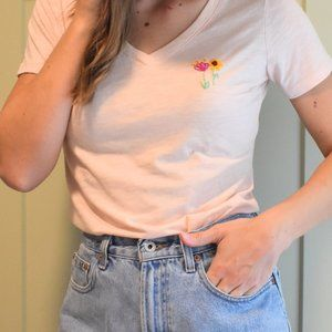 Hand embroidered flowers light pink v neck t shirt